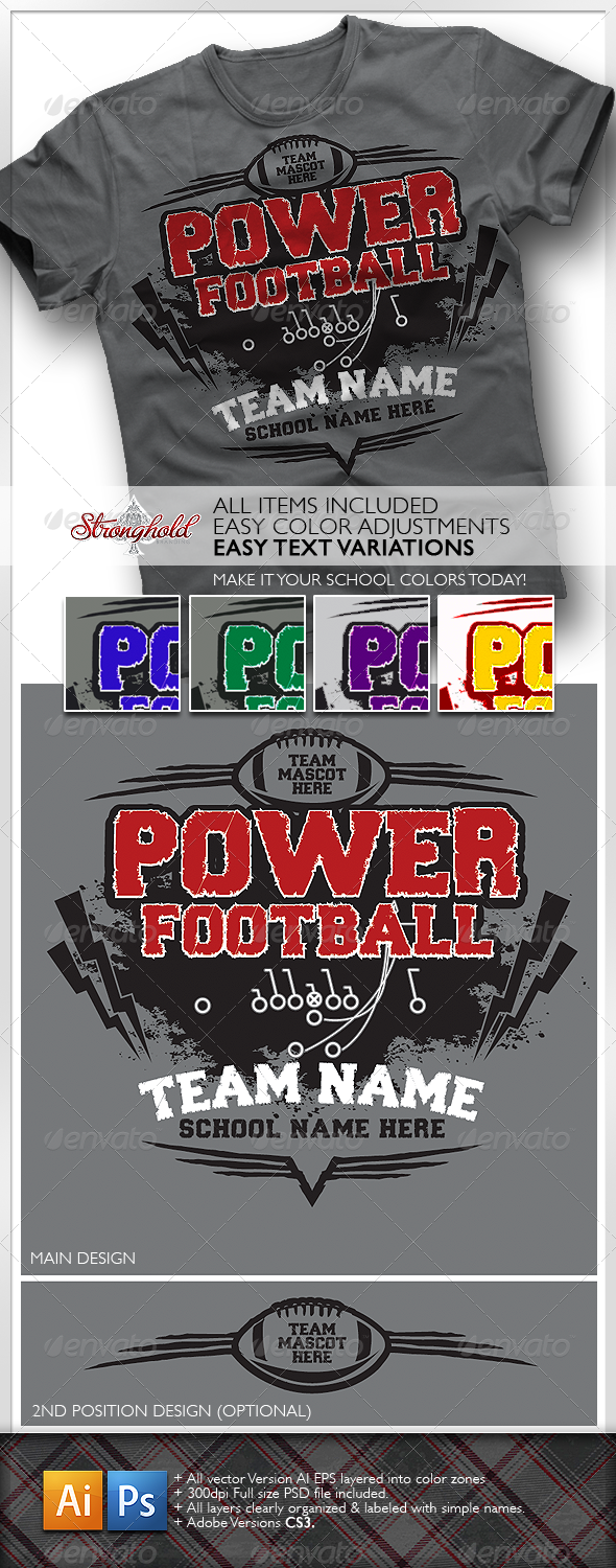 Power Football T-Shirt - Sports & Teams T-Shirts