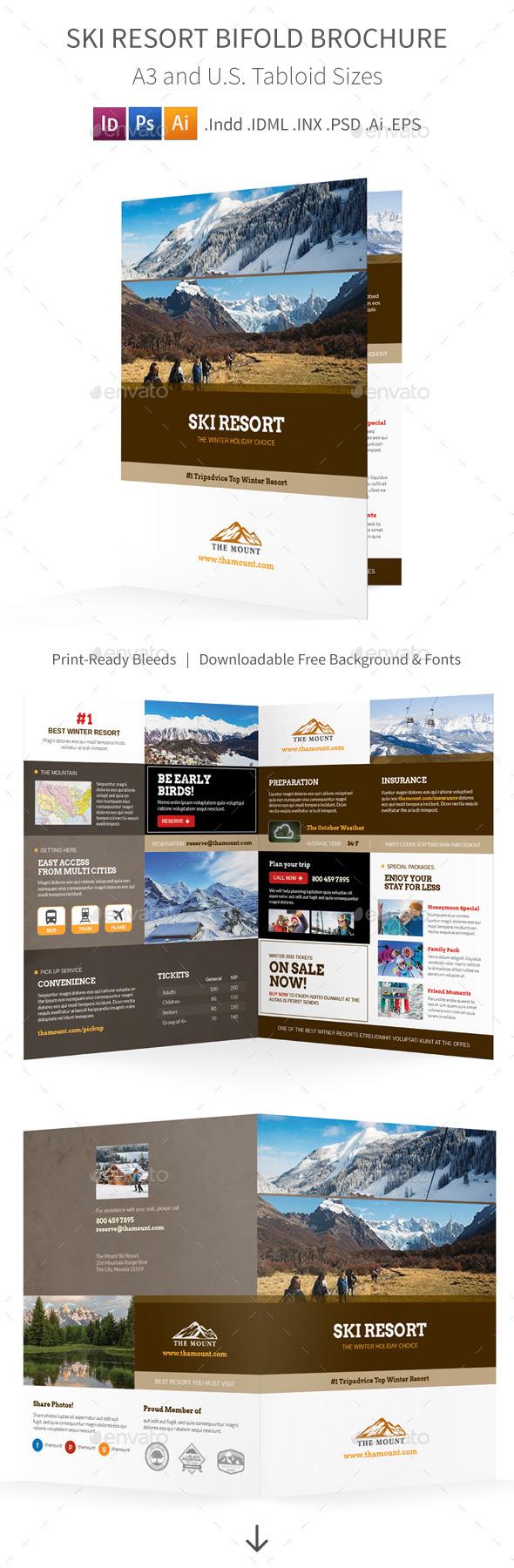 Ski Resort Bifold / Halffold Brochure - Informational Brochures