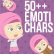 50+ Emotichars Moslem Woman Version - GraphicRiver Item for Sale