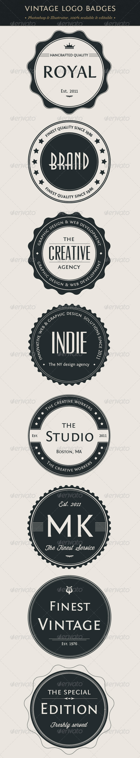 Vintage Logo Badges Set - Badges & Stickers Web Elements