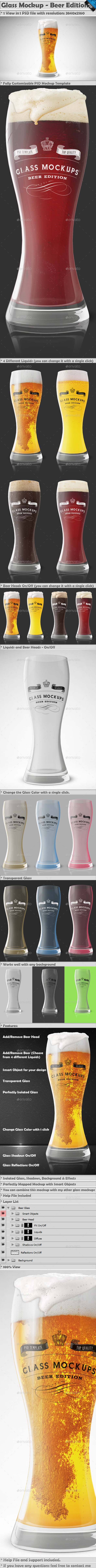 Glass Mockup - Beer Glass Mockup Edition Vol 1 - Food and Drink Packaging