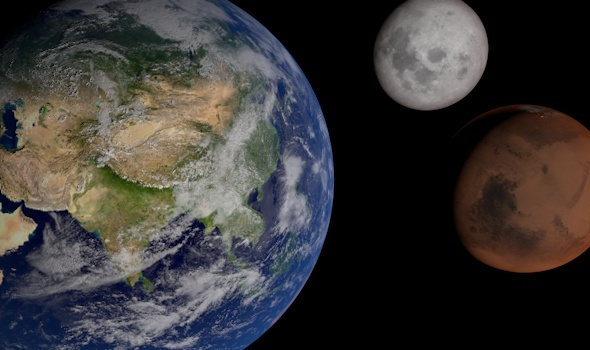 Earth moon and mars planets - 3DOcean Item for Sale