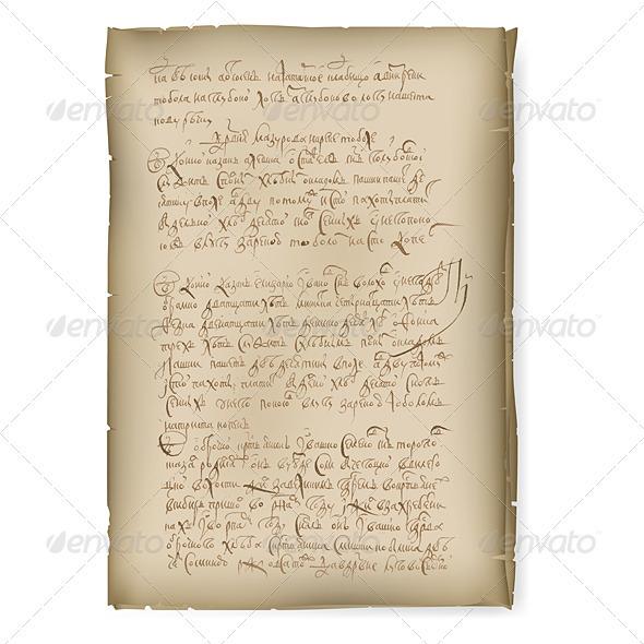 An old manuscript - Characters Vectors