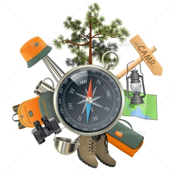 Vector Camping Concept with Compass - Travel Conceptual