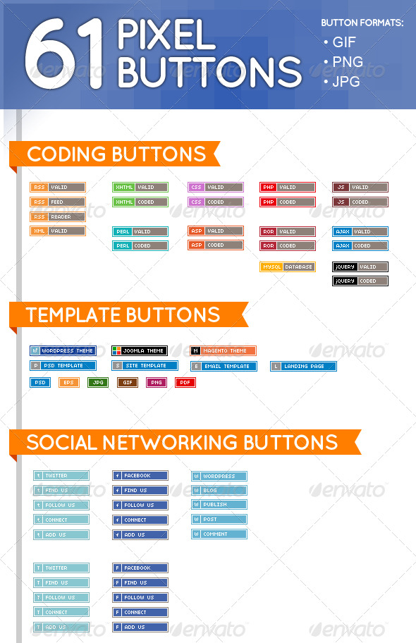 61 Pixel Buttons (Web Elements) - Buttons Web Elements