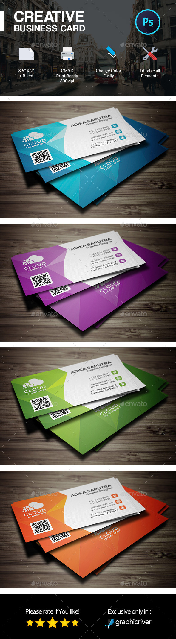 Polygonal Creative Business Card Template
