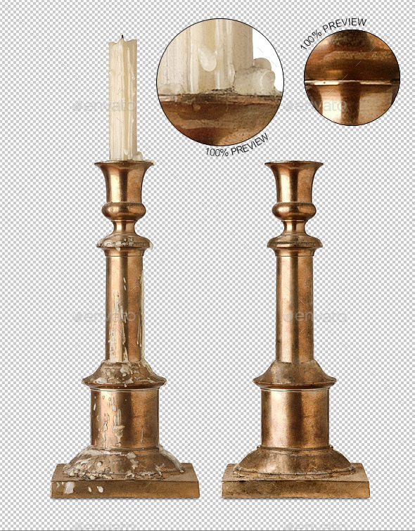 Vintage Brass Candlestick - Home & Office Isolated Objects