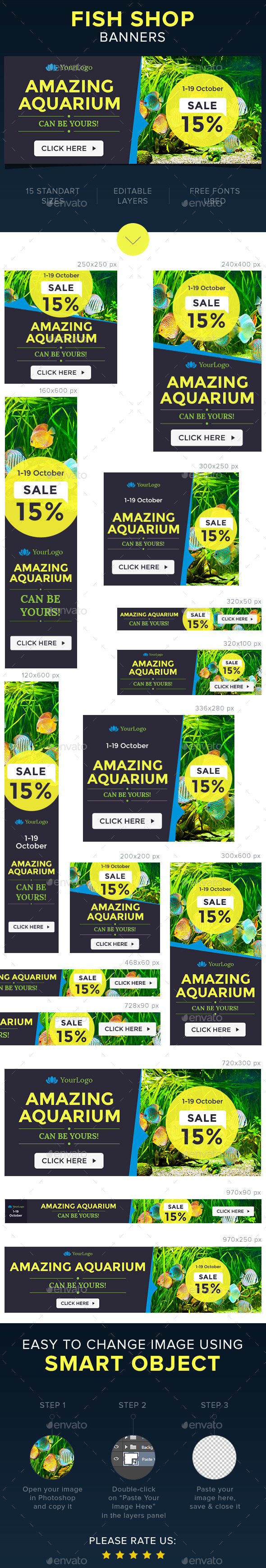 Fish Shop Banners - Banners & Ads Web Elements
