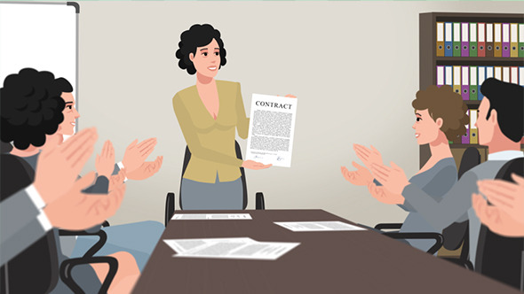 Cartoon Corporate Girl Shows Business Contract