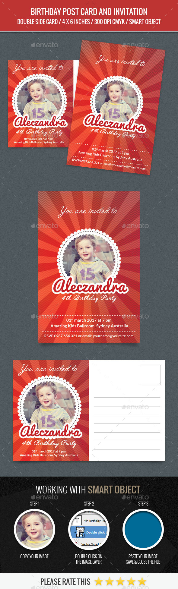 Birthday Post Card Template - Birthday Greeting Cards