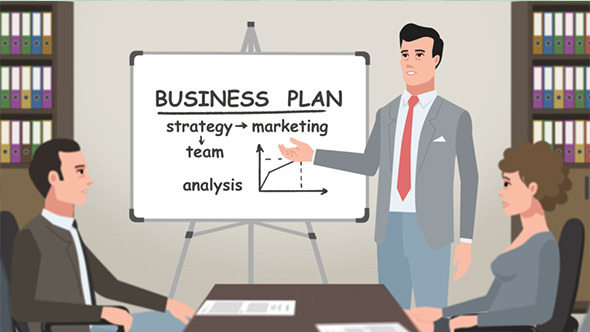 Cartoon Corporate Man Presents Business Plan