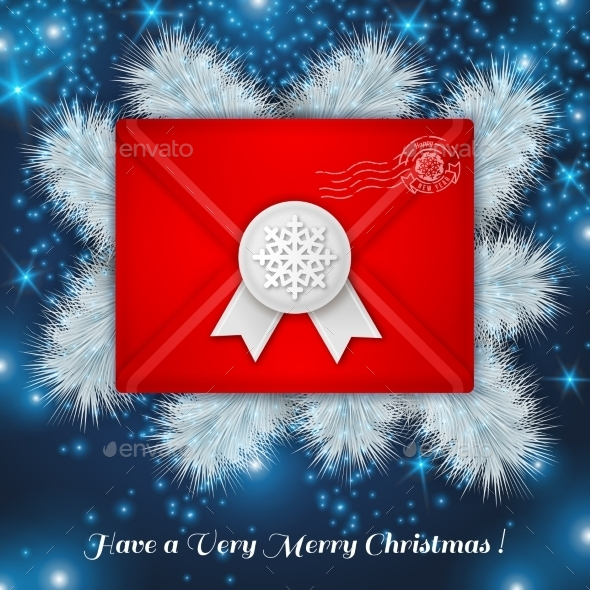 Christmas Red Envelope with White Wax Seal - Christmas Seasons/Holidays