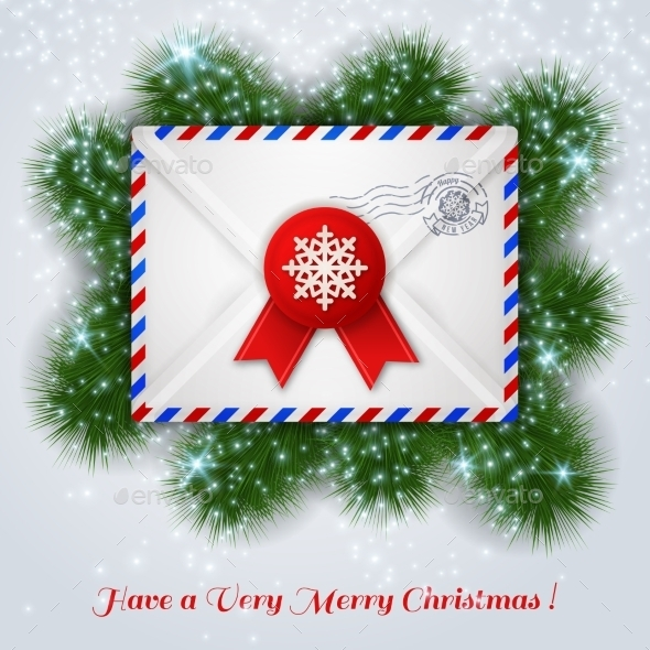 Christmas White Envelope with Red Wax Seal - Christmas Seasons/Holidays
