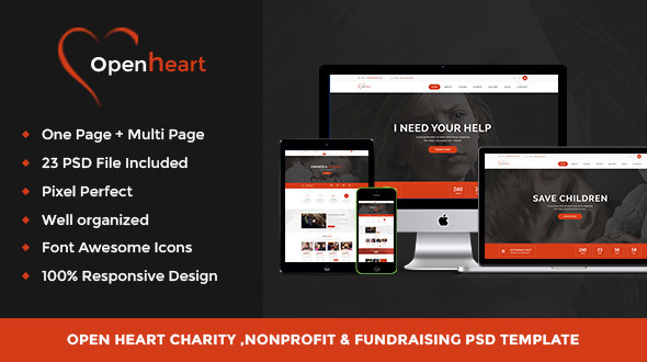 Open Heart – Charity & Nonprofit Psd Template