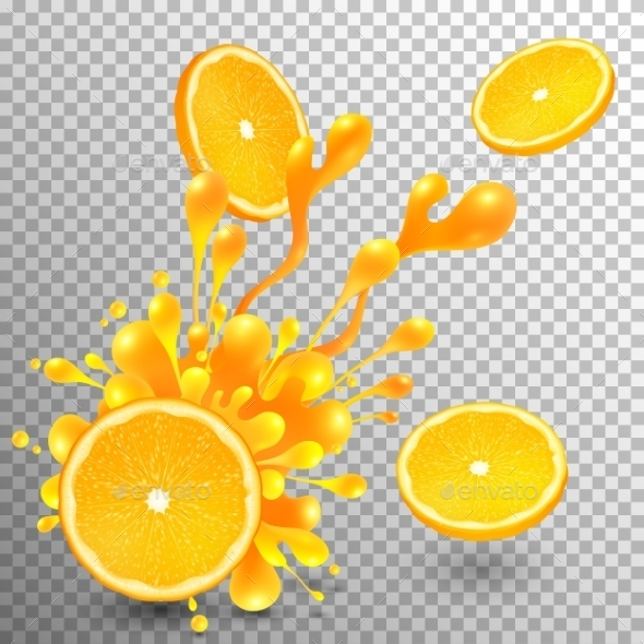 Orange Slice With Juice Splash On Transparent Grid - Food Objects