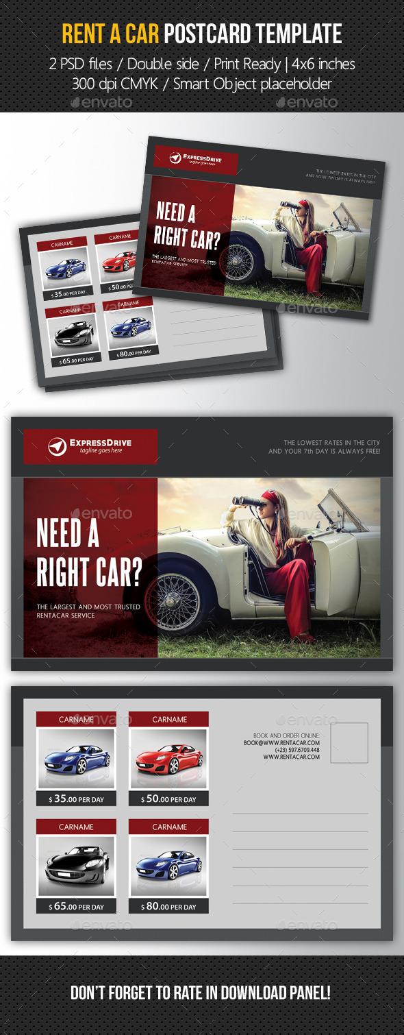 Rent A Car Postcard Template V01 - Cards & Invites Print Templates