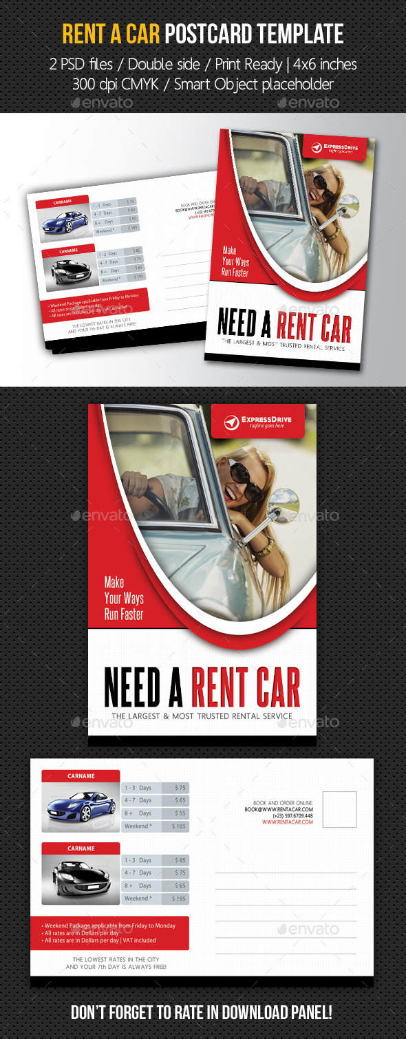 Rent A Car Postcard Template V02