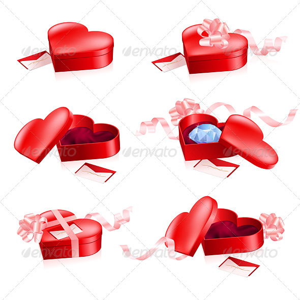 Set of Red boxes in heart shape - Characters Vectors