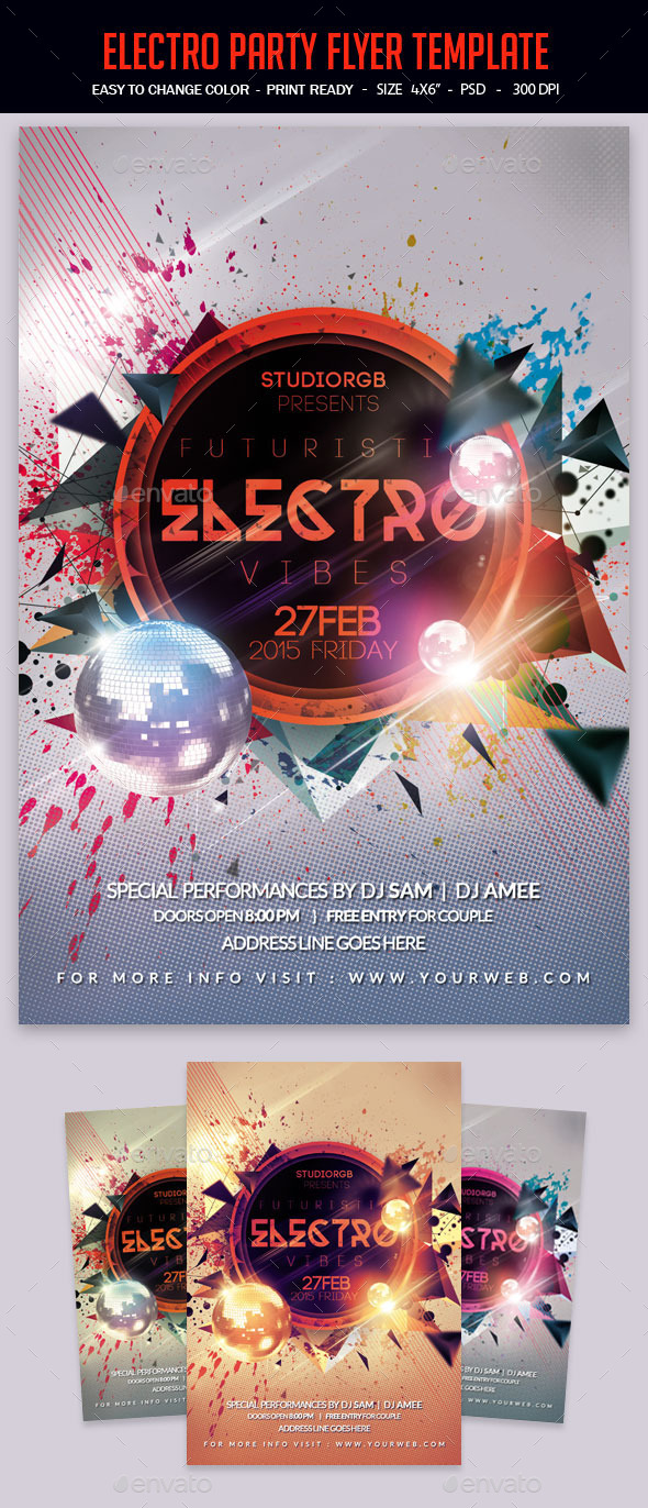 Electro Vibes Flyer Template - Clubs & Parties Events