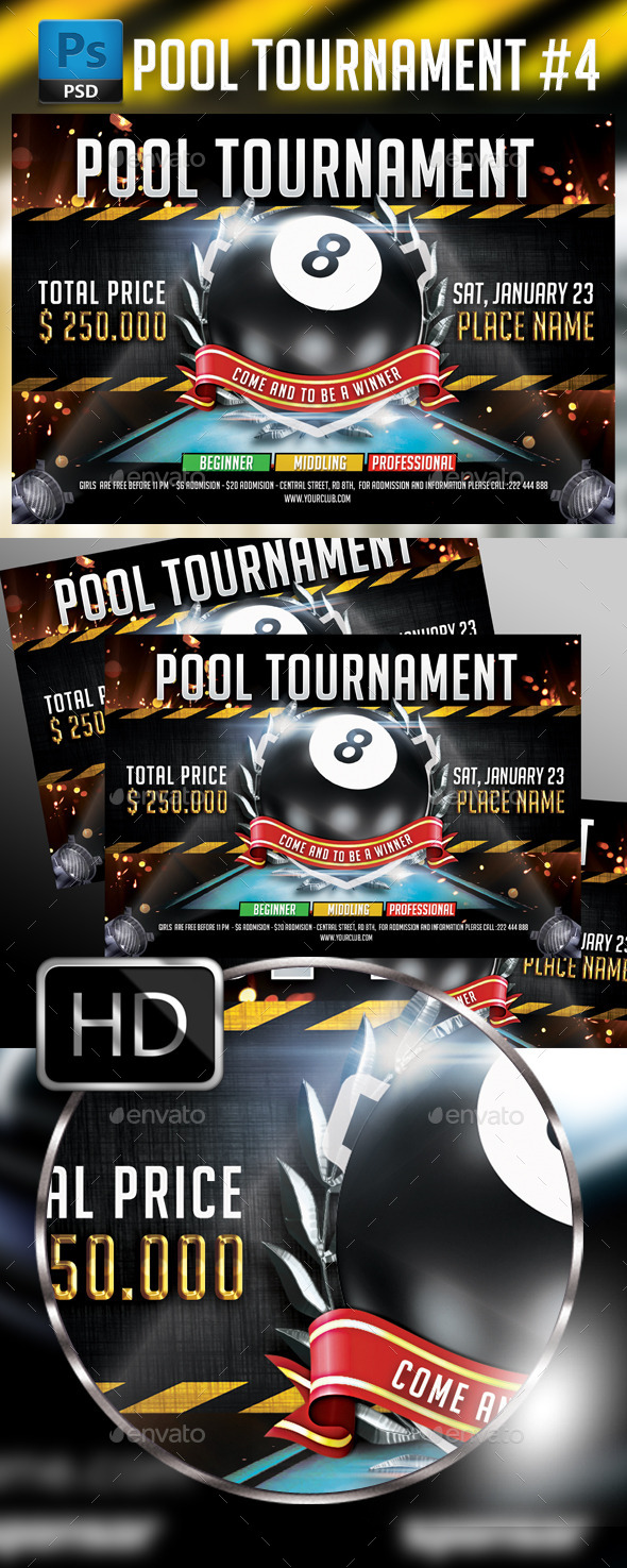 Billiard - Pool Flyer Template - Sports Events