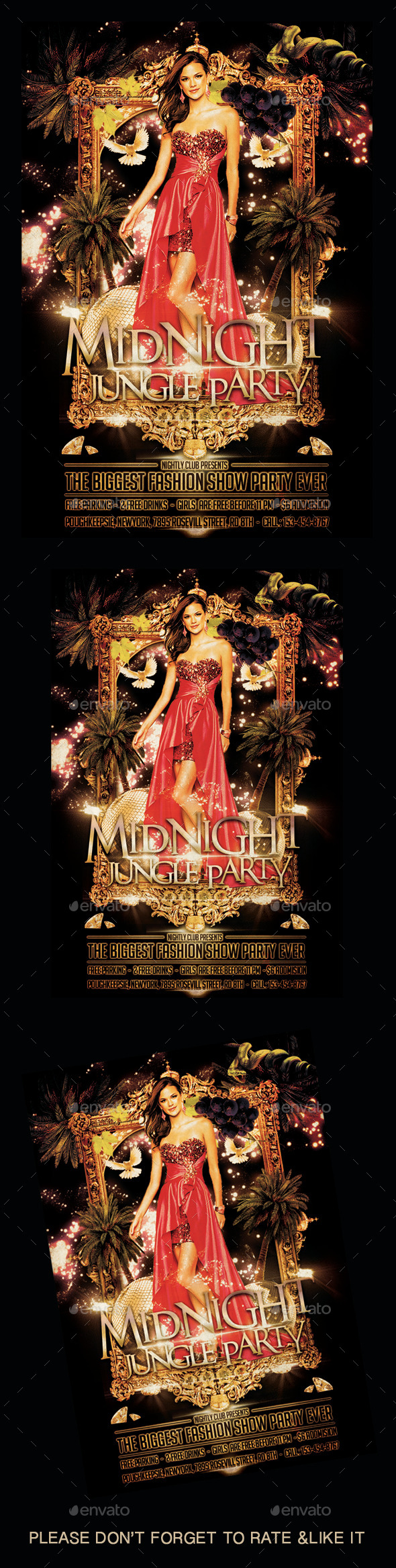 Mid Night Jungle Party Flyer - Flyers Print Templates
