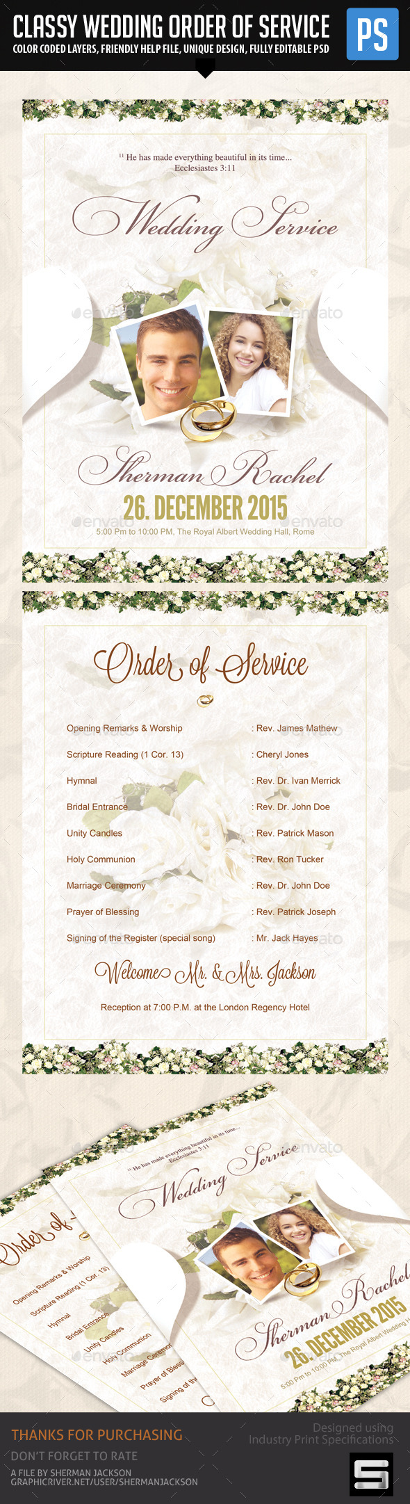Classy Wedding Order of Service Template - Weddings Cards & Invites