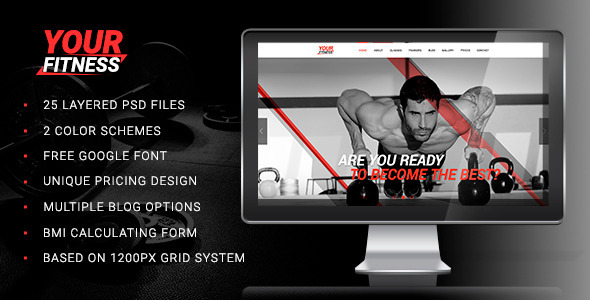 Your Fitness — Sport Blog, Fitness Club, Gym PSD