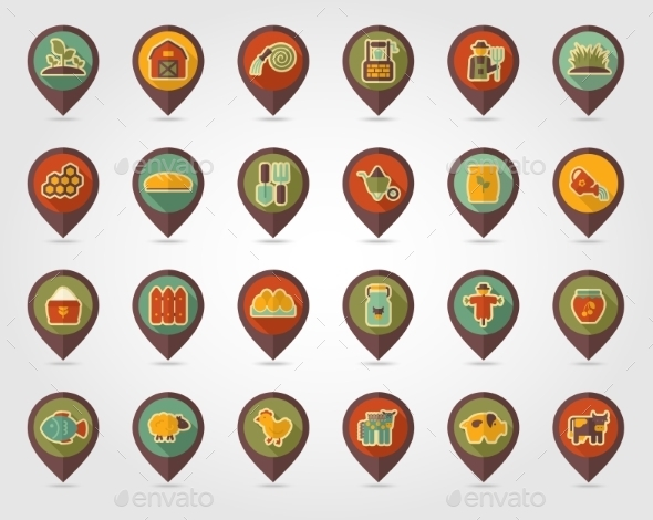 Farm Garden Flat Mapping Pin Icon With Long Shadow