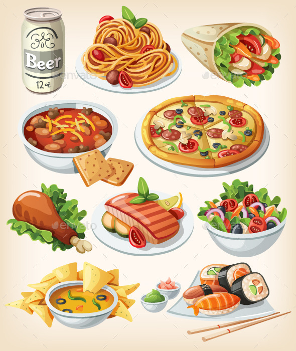 Set of Traditional Food Icons - Food Objects