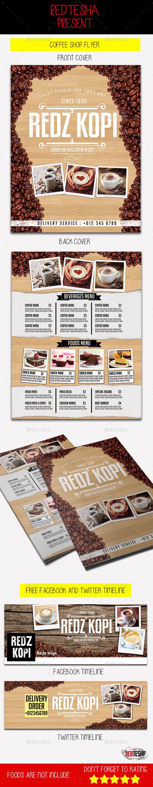 Coffee Shop Flyer - Food Menus Print Templates