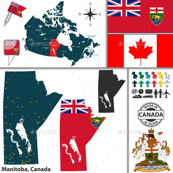 Map of Manitoba, Canada - Travel Conceptual