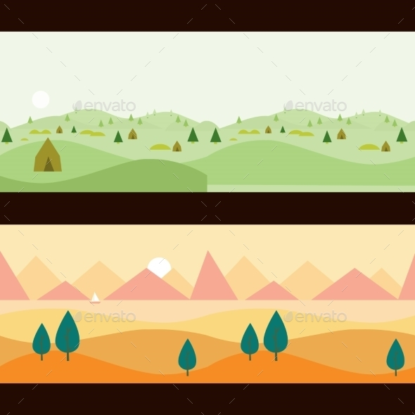 Background Seamless Scenery Seasons And Landscapes