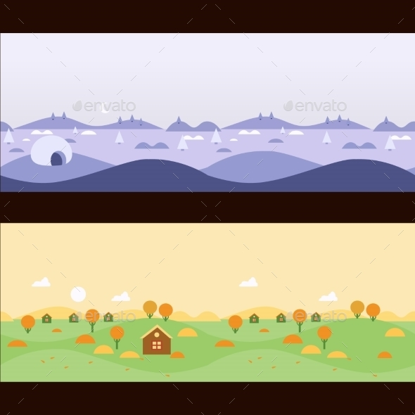 Background Seamless Scenery Seasons And Landscapes - Landscapes Nature