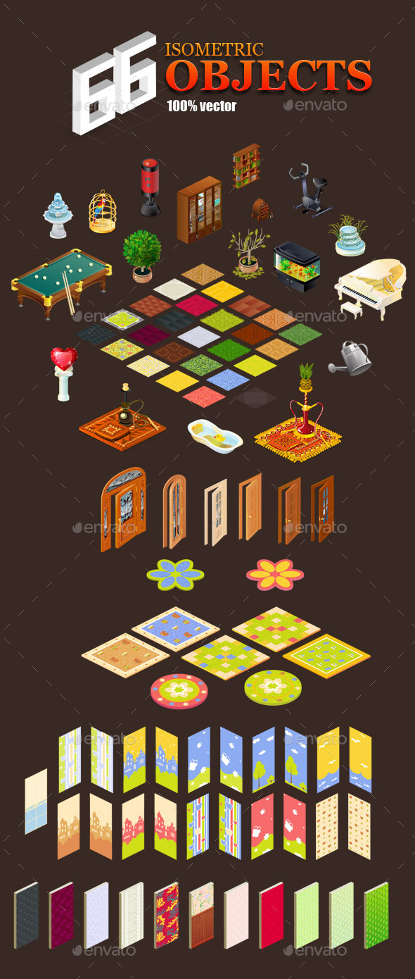 66 isometric objects