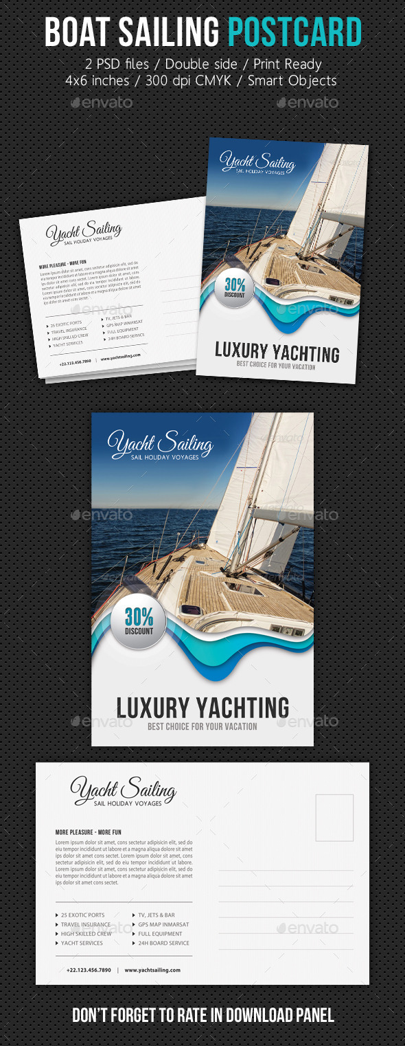 Boat Sailing Postcard Template V07