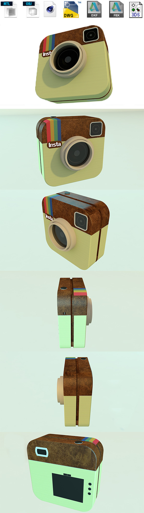 Instgram 3d logo - 3DOcean Item for Sale