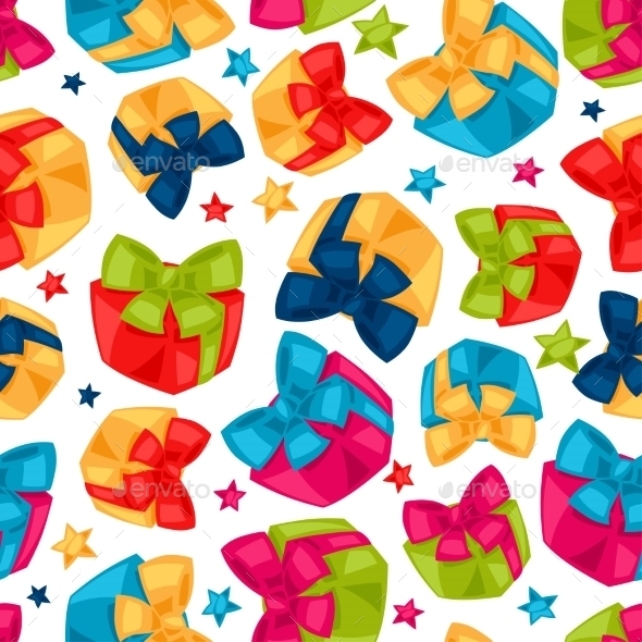 Celebration Festive Seamless Pattern With Gift - Seasons/Holidays Conceptual