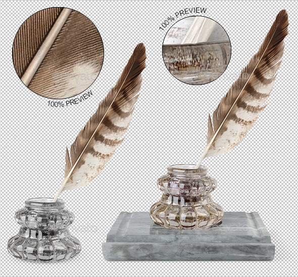 Vintage Inkwell and Quill - Home & Office Isolated Objects
