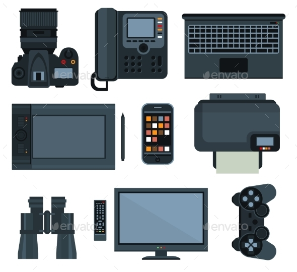 Office Equipment Set Of Vector Icon