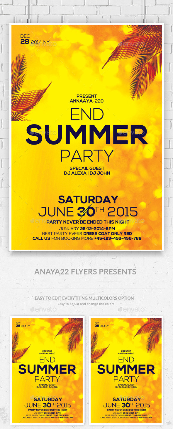 Summer End Party Flyer Psd Template - Clubs & Parties Events