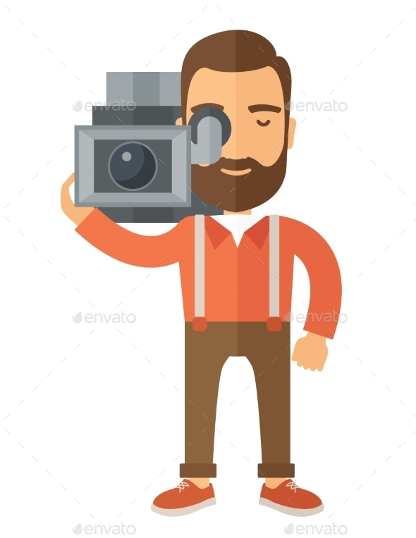 Videographer With His Video Camcorder - Backgrounds Decorative