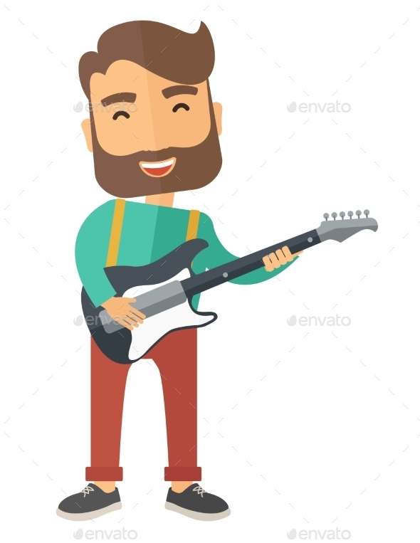 Musician Is Playing Electrical Guitar - People Characters