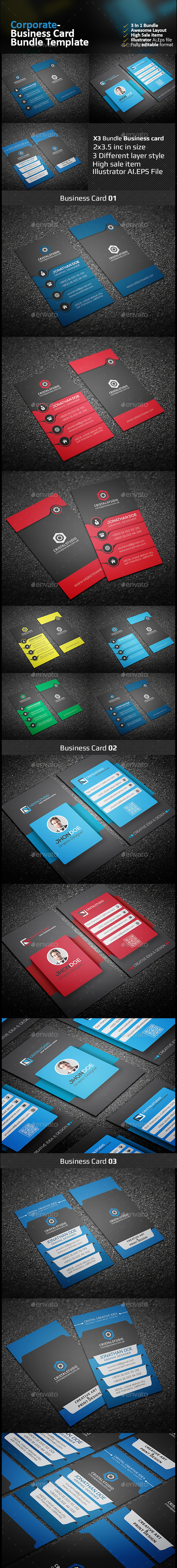 Corporate Business Card Bundle 3 in 1