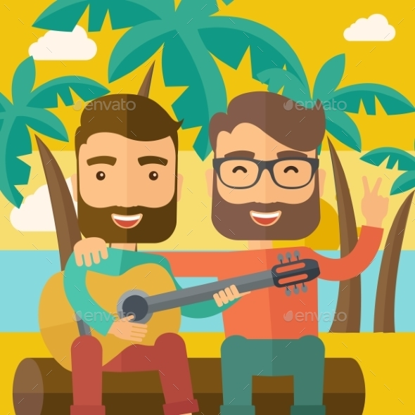 Two Men Playing a Guitar At The Beach