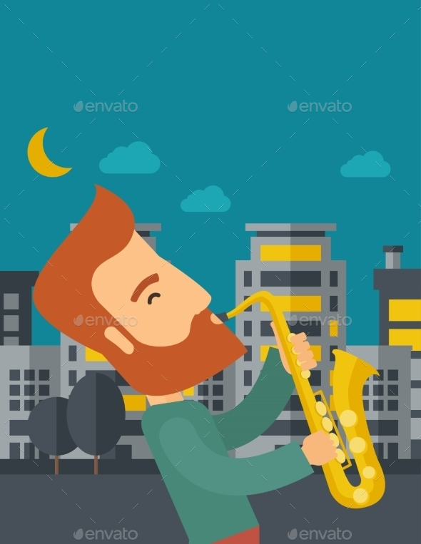 Saxophonist Playing In The Streets At Night - Backgrounds Decorative