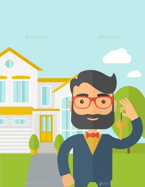 Real Estate Agent Holding a Key - People Characters