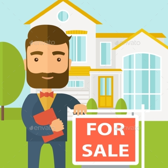Real Estate Agent Standing Beside The For Sale - Retail Commercial / Shopping