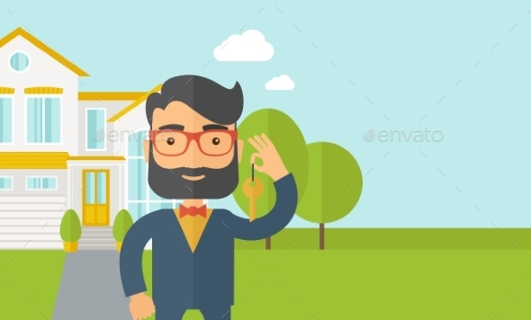 Man Holding a Key Infront Of The House - People Characters