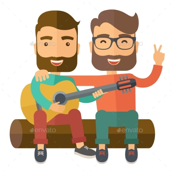 Two Men Playing a Guitar. - Travel Conceptual