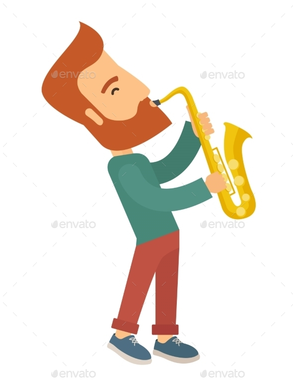 Saxophonist Playing In The Street. - Backgrounds Decorative